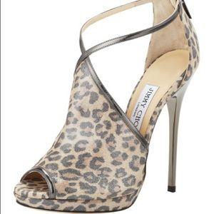 Jimmy Choo Fey Peep-Toe Leopard-Print Sandal
